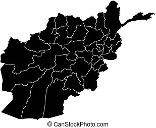 Map - Afghanistan - Map of Afghanistan in black with the...
