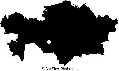 Map - Kazakhstan - Map of Kazakhstan in black.