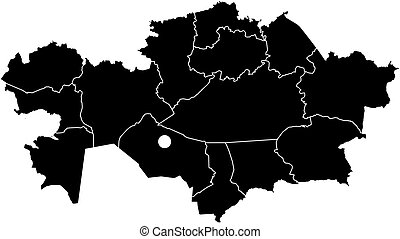 Map - Kazakhstan - Map of Kazakhstan in black with the...