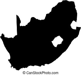 Map - South Africa - Map of South Africa in black.