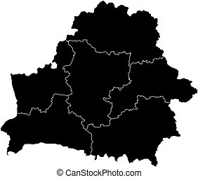 Map - Belarus - Map of Belarus in black with the provinces.