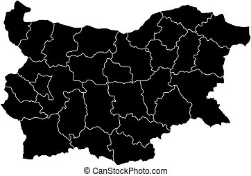Map - Bulgaria - Map of Bulgaria in black with the...