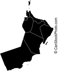 Map - Oman - Map of Oman in black with the provinces.