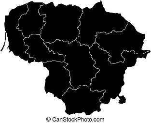 Map - Lithuania - Map of Lithuania in black with the...