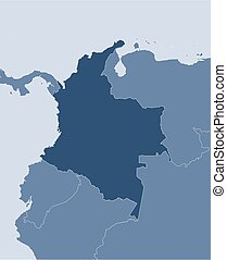 Map - Colombia - Map of Colombia and nearby countries,...