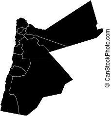 Map - Jordan - Map of Jordan in black with the provinces.