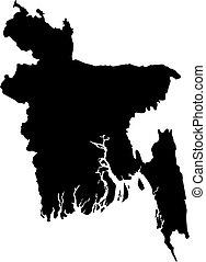 Map - Bangladesh - Map of Bangladesh in black.
