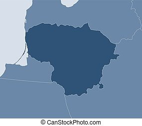 Map - Lithuania - Map of Lithuania and nearby countries,...