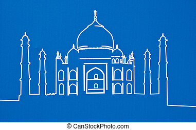Taj Mahal of india on a blue background