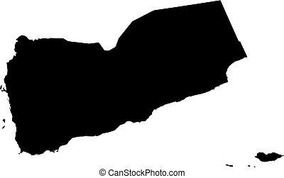 Map - Yemen - Map of Yemen in black.