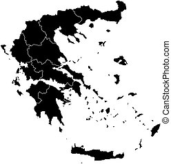 Map - Greece - Map of Greece in black with the provinces.