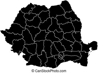 Map - Romania - Map of Romania in black with the provinces.