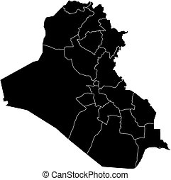 Map - Iraq - Map of Iraq in black with the provinces.