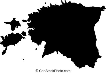 Map - Estonia - Map of Estonia in black.