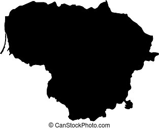 Map - Lithuania - Map of Lithuania in black.