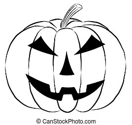 Pumpkin lantern icon in outline style isolated on white background.