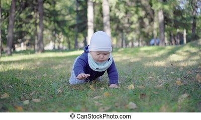 Baby crawling on the grass in the park.