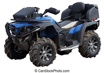 Blue Quad bike. - Blue Quad bike isolated on a white...
