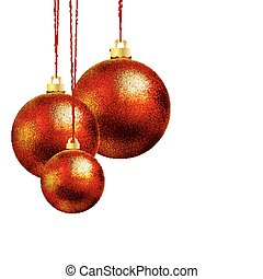 Three red Christmas ball
