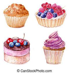 Conjunto, Ilustración, mano, acuarela, Plano de fondo,  Cupcakes, dibujado, blanco