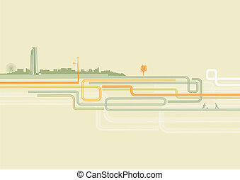 urban background - Vector illustration of color lines with...