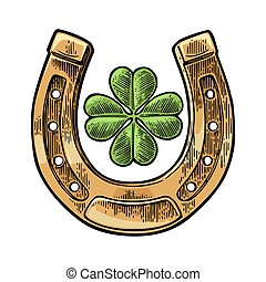 Good luck four leaf clover and horseshoe. Vintage vector engraving