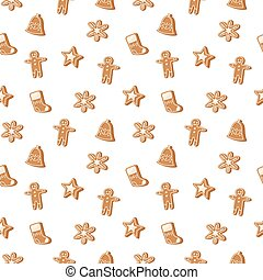 Christmas cookie seamless pattern vector icon - Sweet...