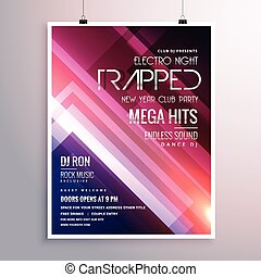 amazing shiny lights music flyer template with abstract stripes background