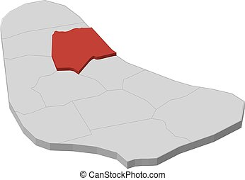 Map - Barbados, Saint Andrew - 3D-Illustration - Map of...