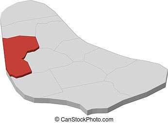 Map - Barbados, Saint James - 3D-Illustration - Map of...