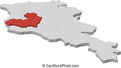 Map - Armenia, Aragatsotn - 3D-Illustration - Map of Armenia...