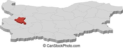 Map - Bulgaria, Sofia City - 3D-Illustration - Map of...