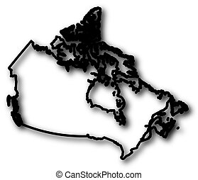 Map - Canada - Map of Canada in a black contour line with...