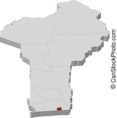 Map - Benin, Littoral - 3D-Illustration - Map of Benin as a...