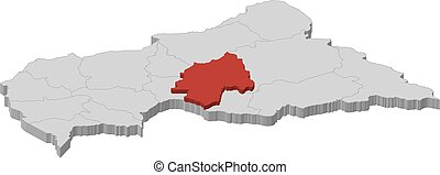 Map - Central African Republic, Ouaka - 3D-Illustration -...