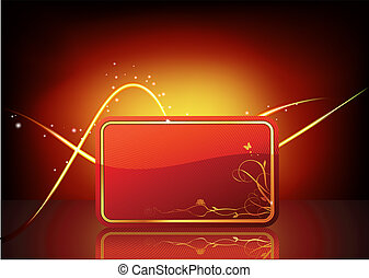decorated gift card - Vector illustration of red decorated...