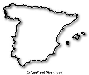 Map - Spain - Map of Spain in a black contour line with...