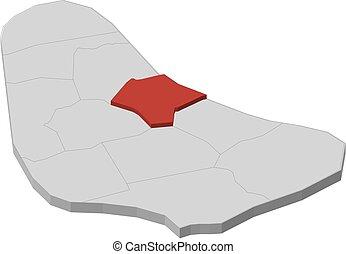 Map - Barbados, Saint Joseph - 3D-Illustration - Map of...