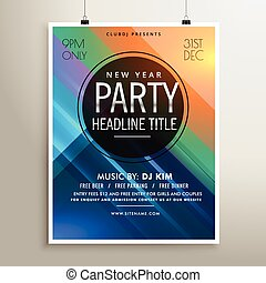 party event flyer template with colorful stripes