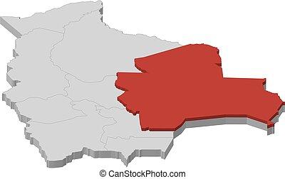 Map - Bolivia, Santa Cruz - 3D-Illustration