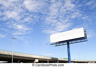 Blank billboard - A blank billboard with an elevated highway...
