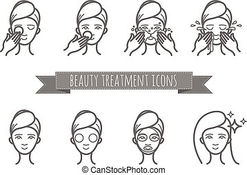 outline web icons - beauty treatment, face care, mask for...