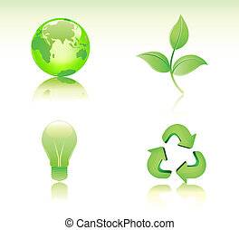 Conservation icon set - Vector illustration of Environmental...