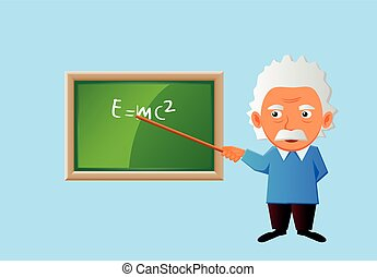 Old teacher lecturing in class - Vector illustration of a...