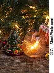Handmade gift boxes - Christmas magic glowing light with...