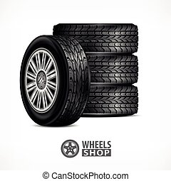 Rubber wheels on white - Different car black new rubber...