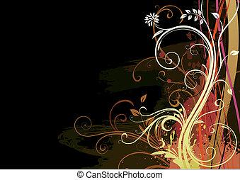 Floral Background - Vector illustration of Grunge Floral...