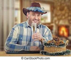 Portrait of cowboy on Christmas Eve - Middle-aged smiling...