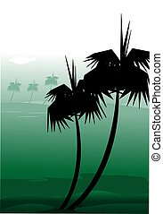 Coconut tree - Illustration of coconut tree in green colour...