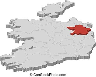 Map - Ireland, Meath - 3D-Illustration - Map of Ireland as a...